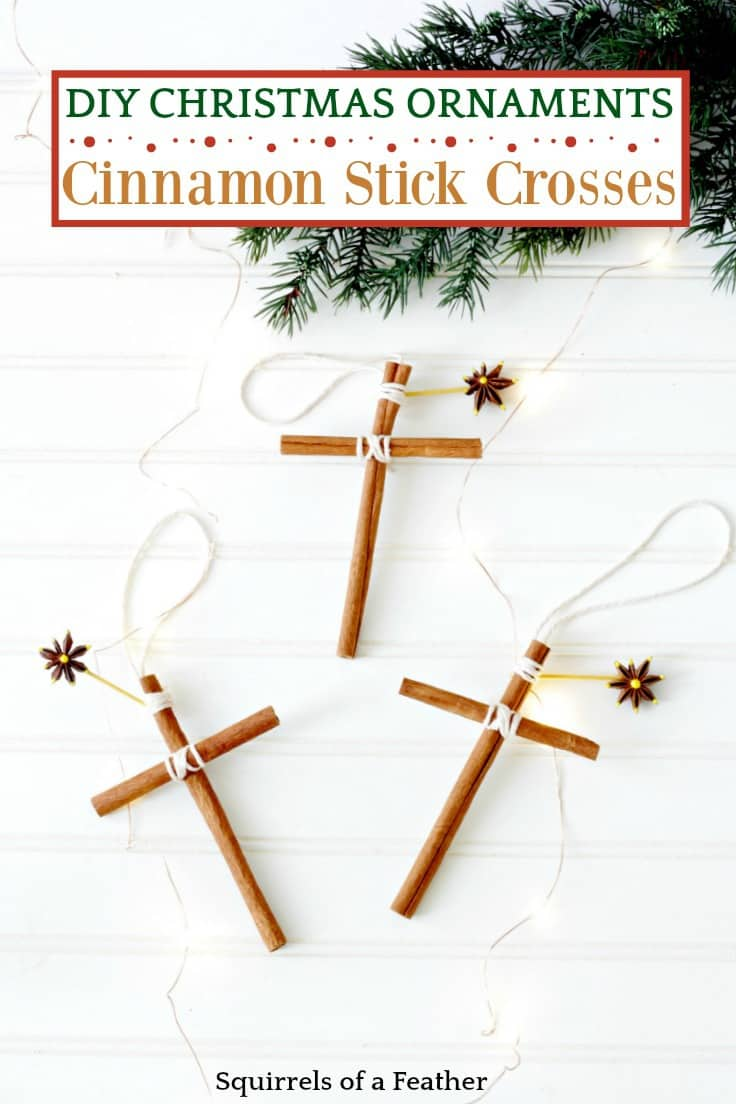 Find out how to make these beautiful homemade Christmas ornaments for your Christmas tree! These easy ornaments are made from cinnamon stick crosses with an anise star and smell totally amazing. It's a fun Christmas craft for kids to do! #diychristmas #christmas #kenarry