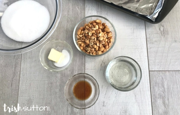 Simple Peanut Brittle Microwave Recipe; TrishSutton.com