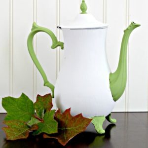 A white pumpkin teapot next to leaves on a table