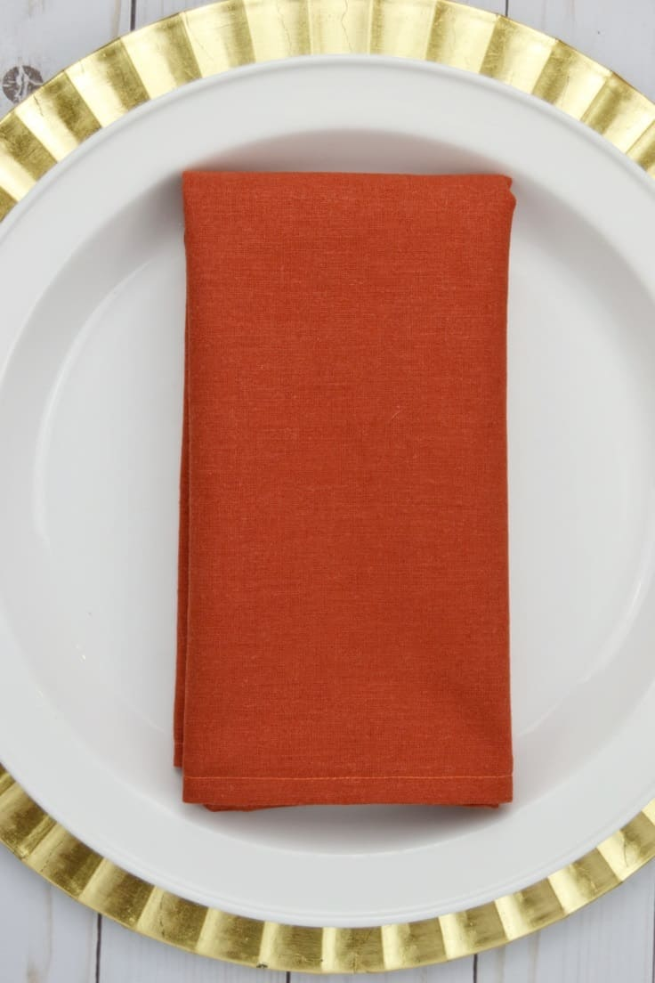 Cloth napkins help set apart special dinners by giving the table added elegance.  You can make these DIY Cloth Napkins in a matter of minutes.  #craftprojects #entertaining