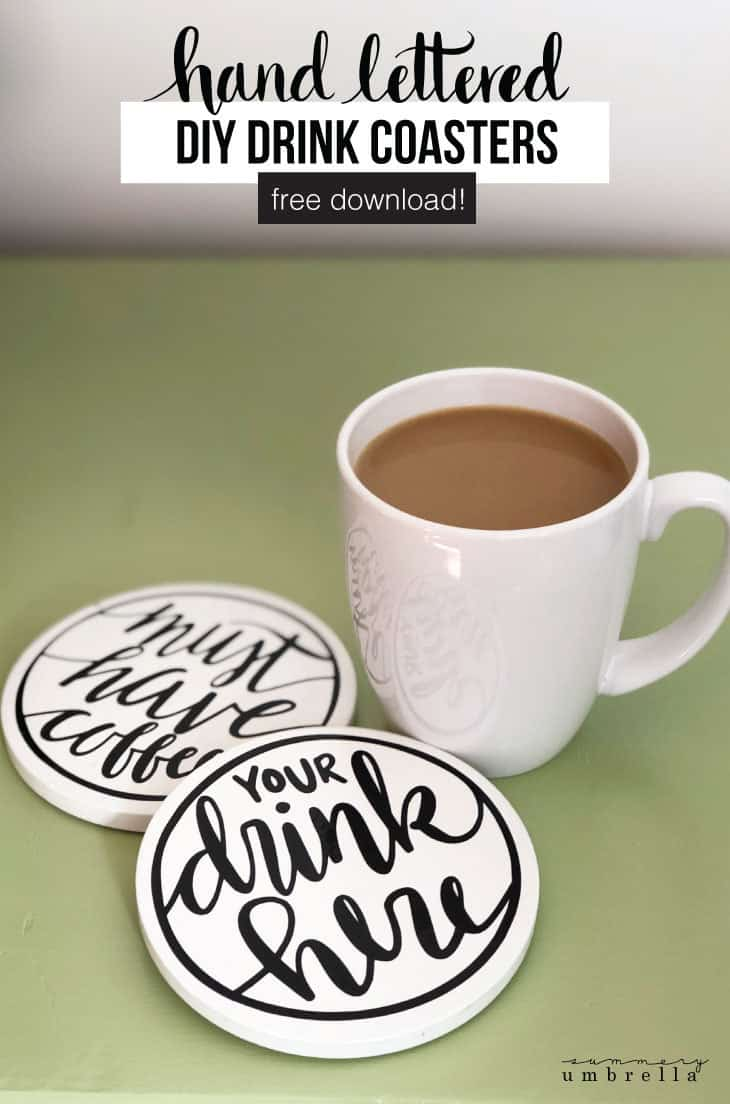Create your own hand lettered drink coasters with this super simple and easy tutorial. It includes step-by-step instructions plus the free download! These homemade coasters are the perfect gift this Christmas holiday season! #diyhomedecor #homedecor