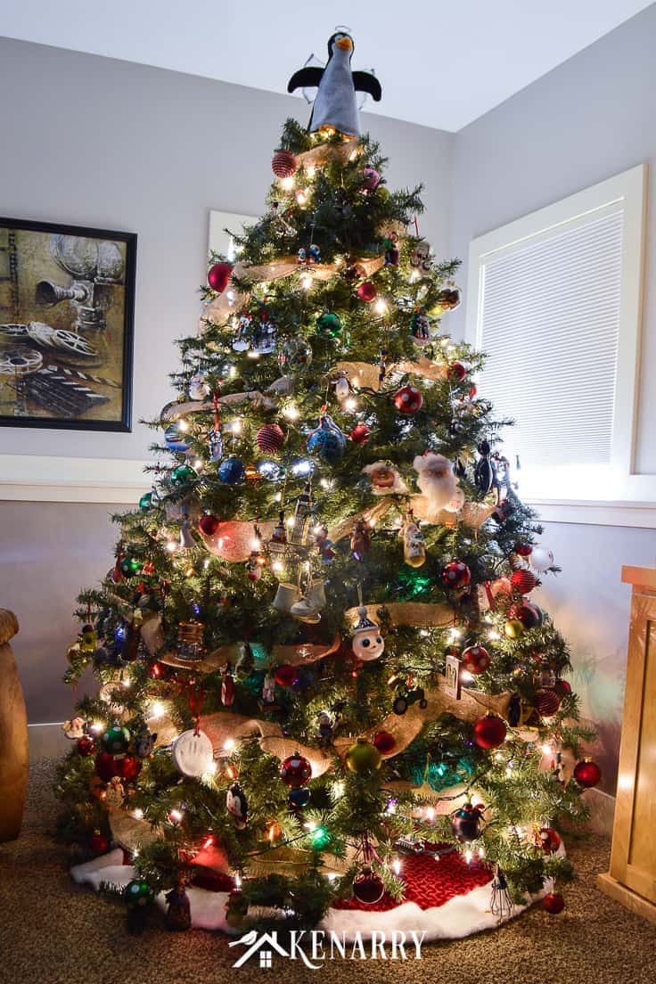 Rustic Christmas Tree With Burlap Ribbon Ideas For The Home