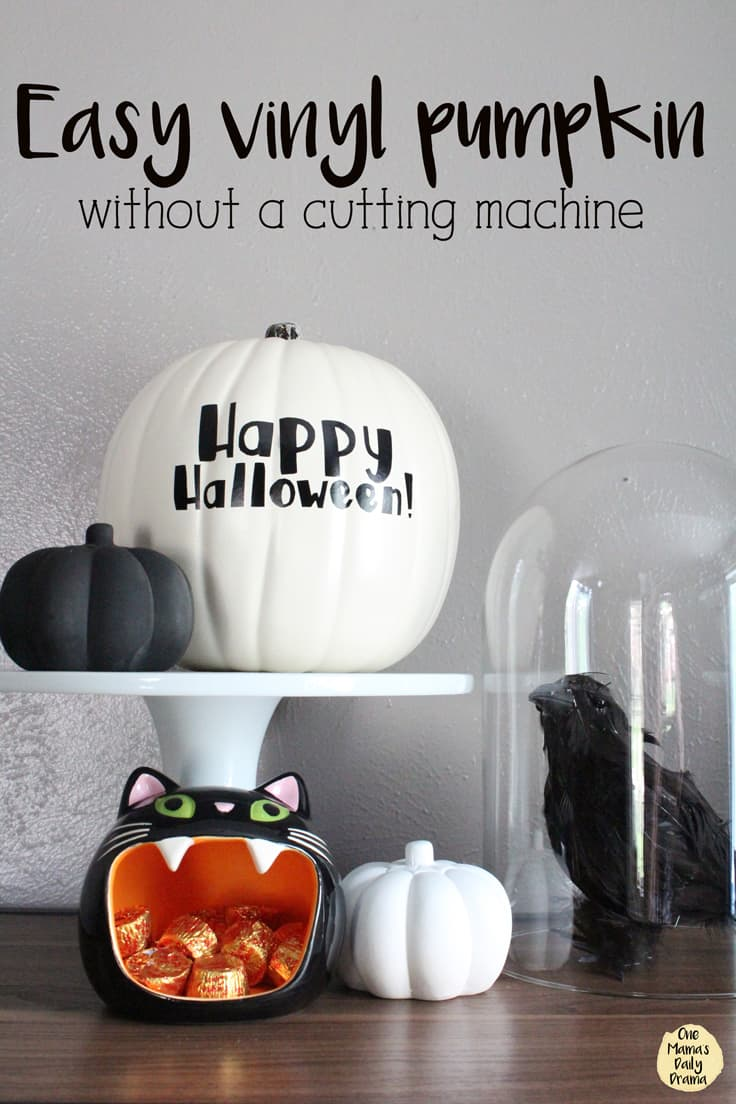 Learn how to cut vinyl to make a custom Halloween pumpkin design, even if you don't have a fancy cutting machine like a Silhouette or Cricut. This easy no carve pumpkin tutorial includes a printable design and step-by-step instructions to decorate a fall or Halloween pumpkin for your front porch. #pumpkins #halloweendecorations #halloweencrafts #falldecorations #fallfrontporch #halloween #kenarry
