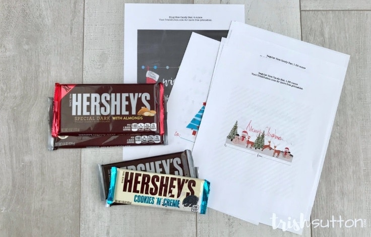 Create an inexpensive gift for a neighbor, teacher, friend or another chocolate lover by simply printing one of these four Christmas Candy Bar Wrappers. TrishSutton.com