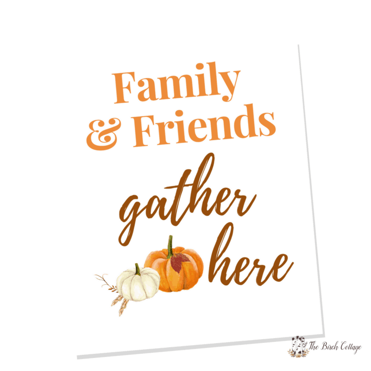 Download your free Family & Friends Gather Here printable for an easy DIY to add a touch of fall to your home decor with some easy wall art decor ideas. #wallart #fallart #kenarry