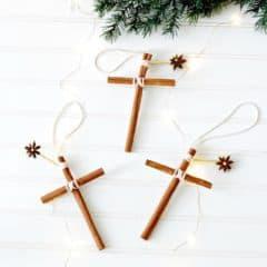 Homemade Christmas ornaments cross cinnamon sticks