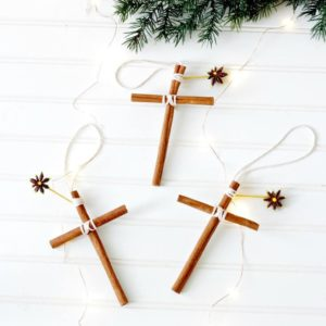 Homemade Christmas ornaments cross cinnamon sticks