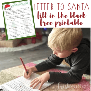 Letter to Santa | Fill in the Blank Free Printable, TrishSutton.com