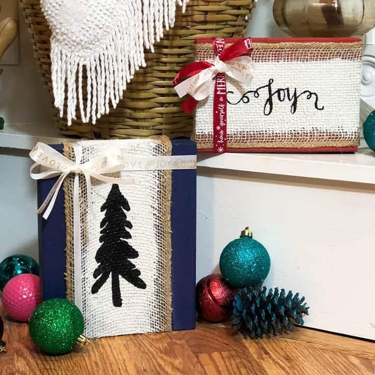 burlap Christmas signs