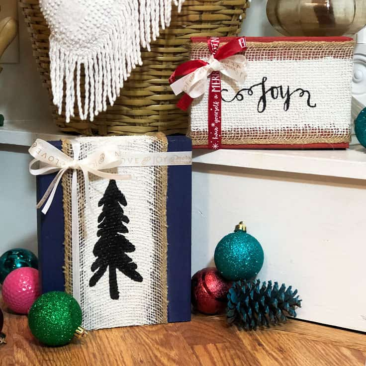 Bring a little farmhouse or rustic holiday season cheer into your home this year with handmade burlap Christmas signs! Not only can these painted wooden signs be created in a variety of colors, but they will also be a great DIY project for the whole family to enjoy. #farmhousechristmas #diydecor #kenarry