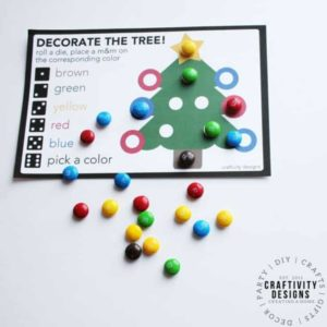 Christmas Dice Game for Kids Free Printable