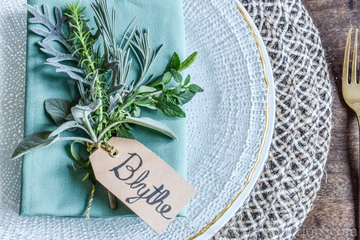 Create a beautiful holiday table setting with these simple herb bundle place card holders.