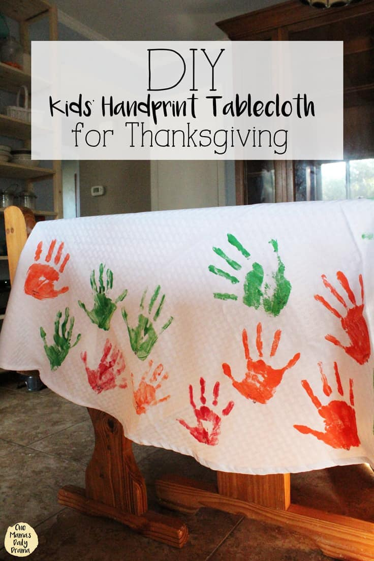 Gather the children to make this handprint DIY tablecloth each Thanksgiving or holiday dinner. This simple Thanksgiving craft will become a favorite activity for kids and a beautiful keepsake. #thanksgiving #thanksgivingcraft #kenarry