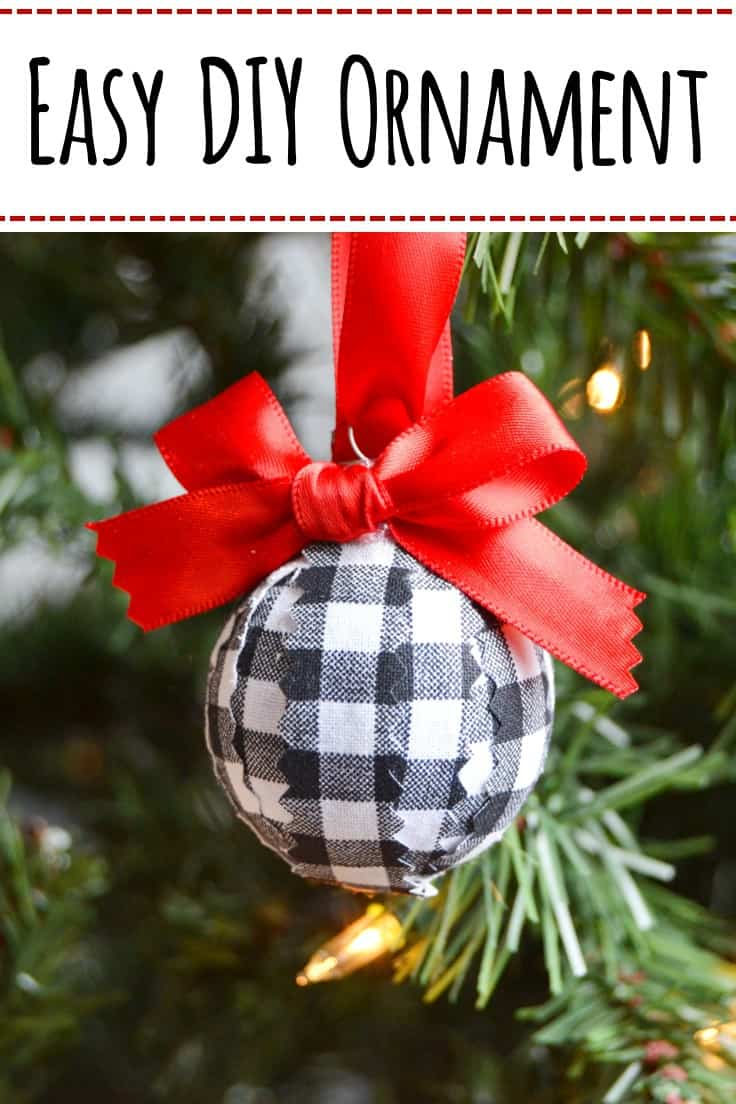 Have some old ornaments that are no longer your style?  Follow this tutorial for an easy DIY Christmas ornament for your tree to make using old ones and some buffalo check fabric. #christmasornament #christmastree #kenarry