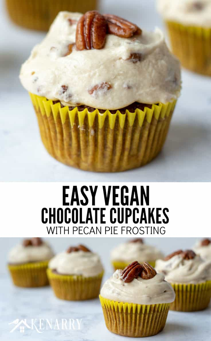 Need an easy dessert idea for a potluck or holiday party? These Easy Vegan Chocolate Cupcakes with Pecan Pie Frosting are sure to be the best crowd-pleaser. #dairyfree #cupcakes #kenarry