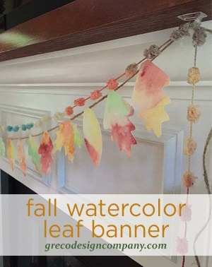 Fall Watercolor Leaf Banner