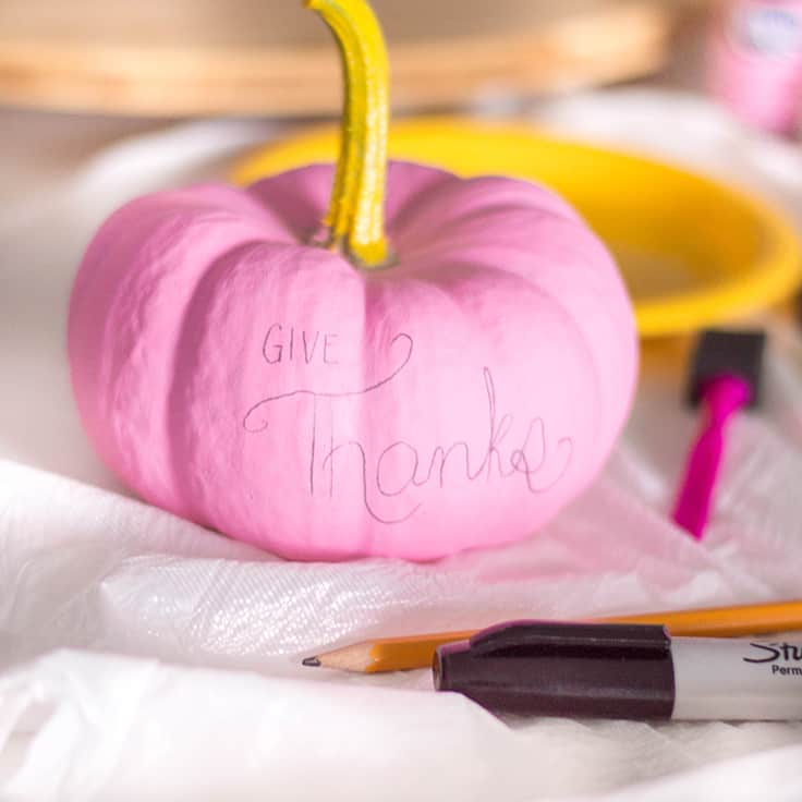 "An easy-peasy DIY for Thanksgiving - a pastel pumpkin centrepiece that say ""Give Thanks"""