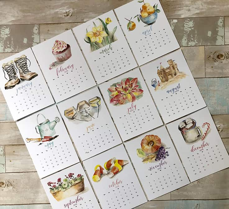 Get a head start on your holiday shopping with these 2019 monthly Watercolor Calendar printables along with FREE printable Christmas gift tags. #calendar #2019calendar #kenarry