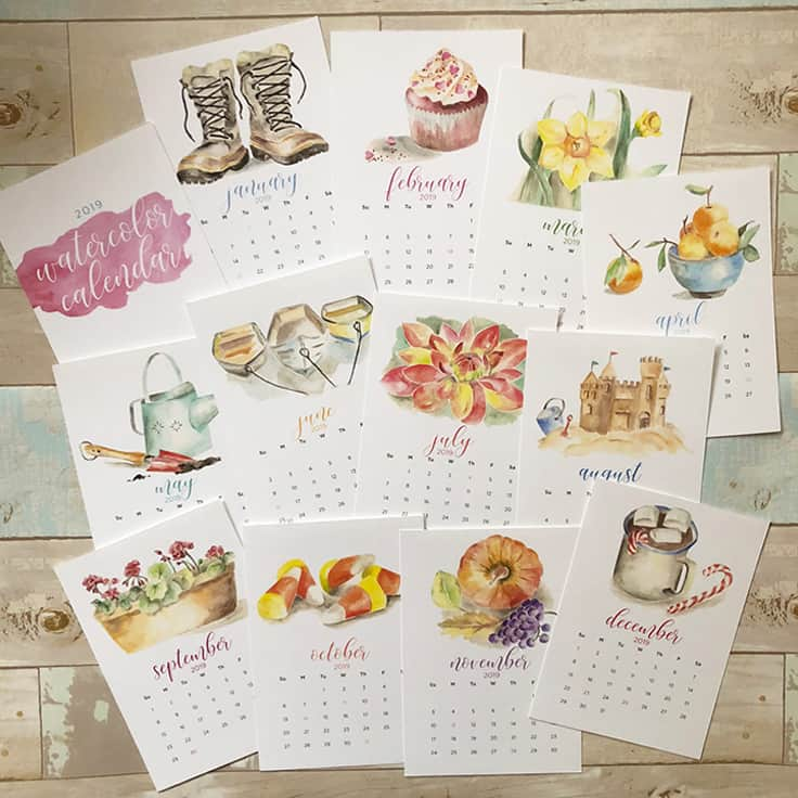 2019 Watercolor Calendar: The Perfect Holiday Gift