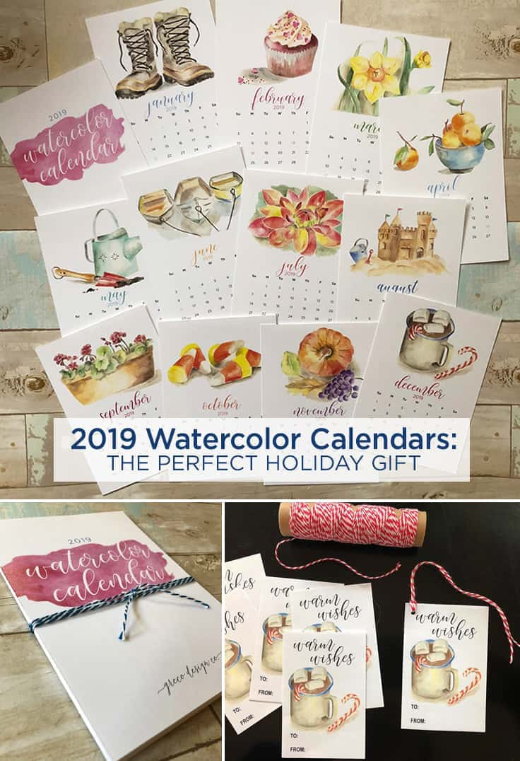 Get a head start on your holiday shopping with these 2019 monthly Watercolor Calendar printables along with FREE printable Christmas gift tags. #gifttags #2019calendar #kenarry