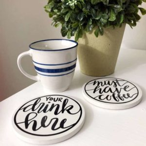 hand lettered drink coasters