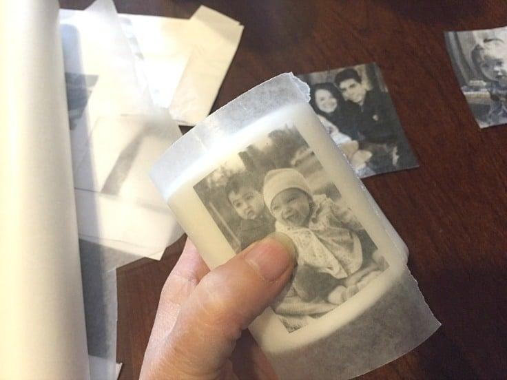 A photo printed on a piece of tissue wrapping paper