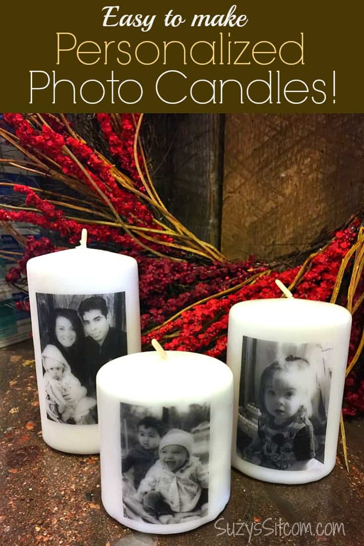 Looking for simple personalized DIY gift ideas?  These easy photo candles made with your favorite pictures are awesome Christmas gifts (or any gift occasion) and they take very little time to make! #giftideas #diygifts #kenarry