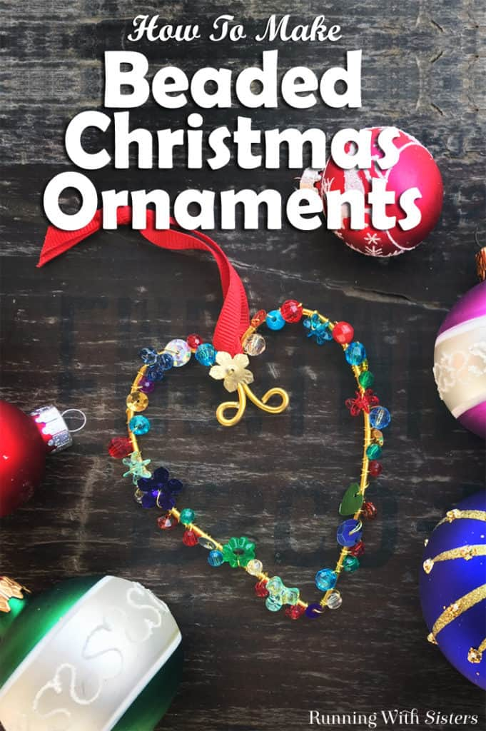 Learn to make DIY Colorful Beaded Christmas Ornaments using floral wire, beads, and sequins. We'll show you every step with this homemade holiday craft video tutorial! #christmascrafts #christmas #kenarry