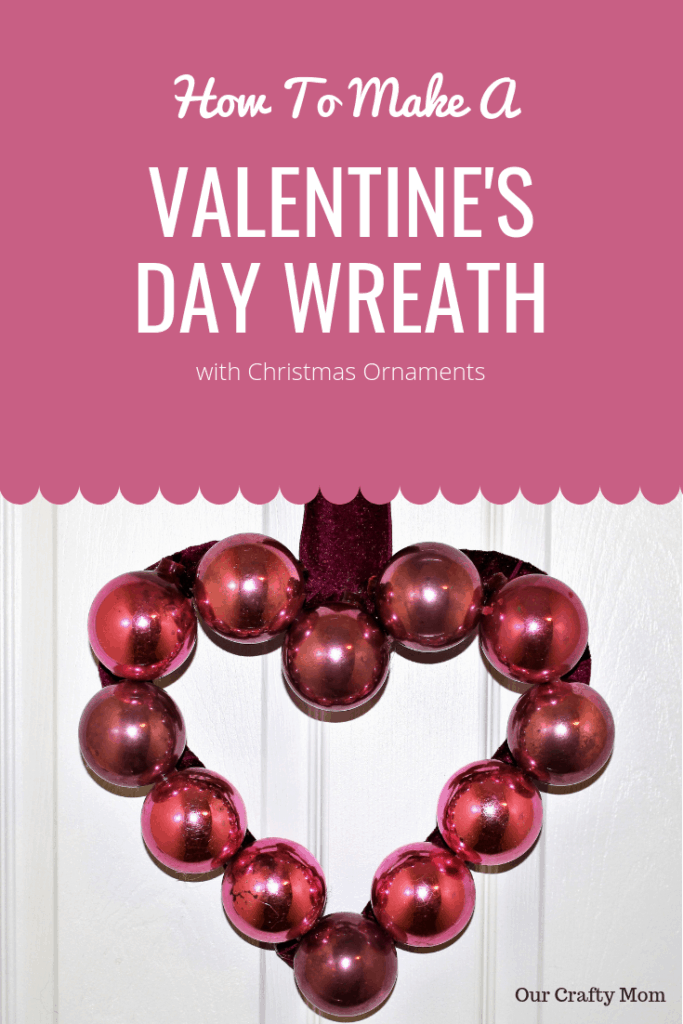 Use pink Christmas ornaments and ribbon to make an easy DIY Valentine's Day Wreath for your front door that you will love for years to come. You'll have this simple wreath done in minutes! #wreaths #valentines #kenarry