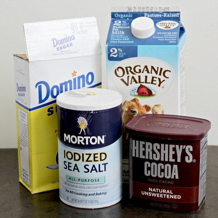 Ingredients to make single serve hot chocolate