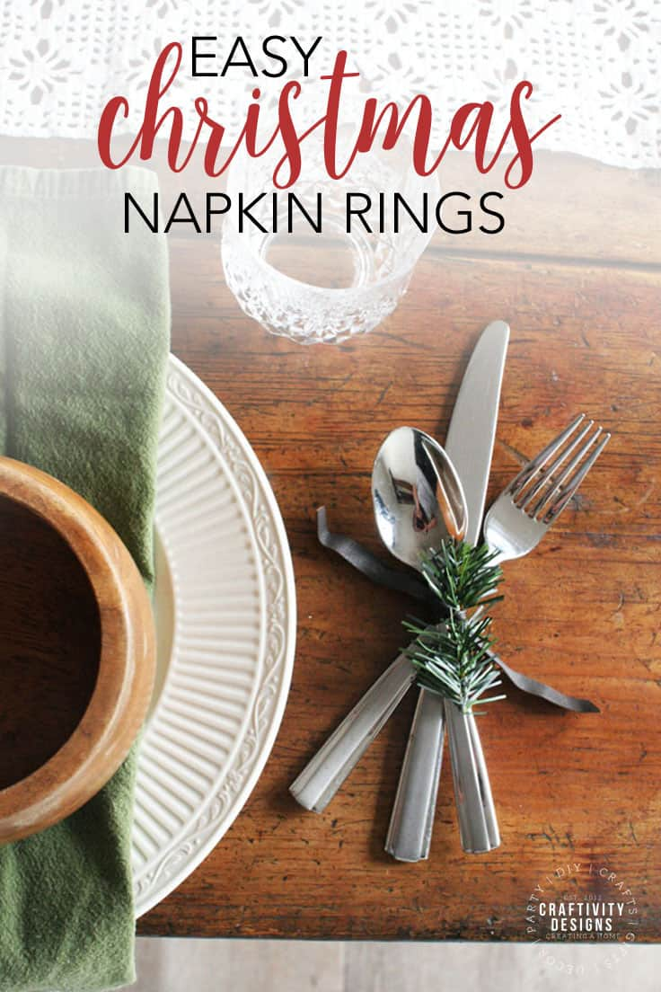 Learn how to make easy Christmas napkin rings for the holiday dinner table. These elegant DIY napkin rings are made with leather and evergreens for a rustic tablescape. #christmascrafts #tablescape #kenarry
