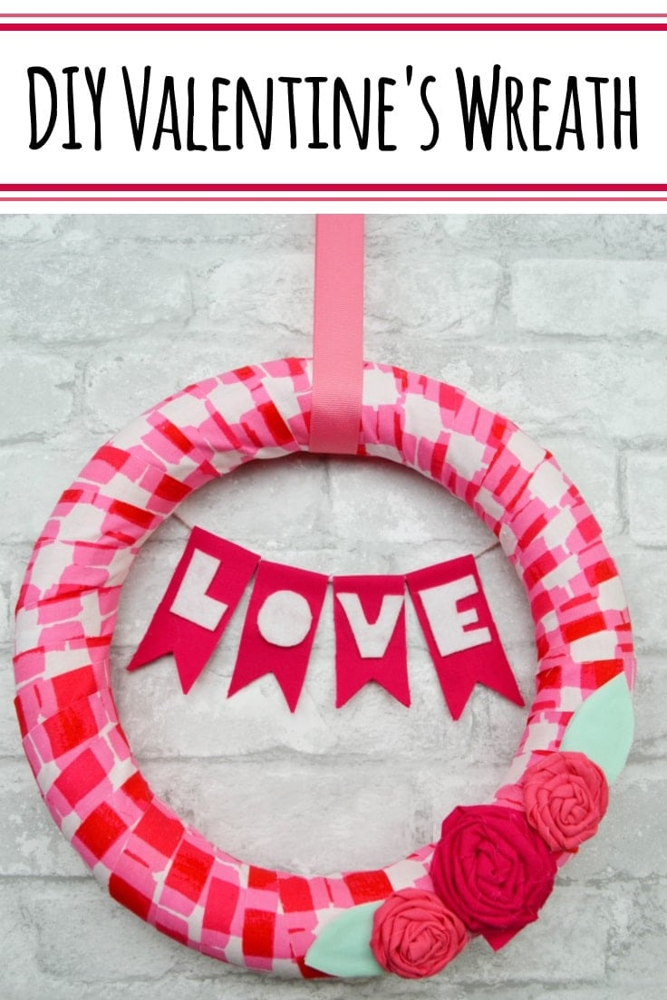 Use up some of your fabric scraps to make an easy and cheerful DIY Valentines wreath that will set a festive mood at your front door. #wreaths #valentines #kenarry