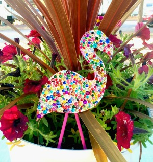 Make sparkly Flamingo Plant Pokes with Polymer Clay!