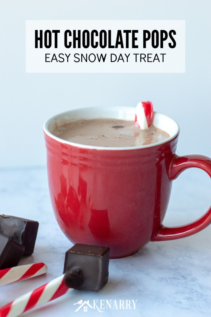 Learn how to make these homemade hot chocolate pops or spoons that are made of just TWO ingredients as an easy DIY treat you can enjoy on snow days, holidays or other special occasions this winter. This recipe would also make festive party gifts or favors. #hotchocolate #hotcocoa #kenarry