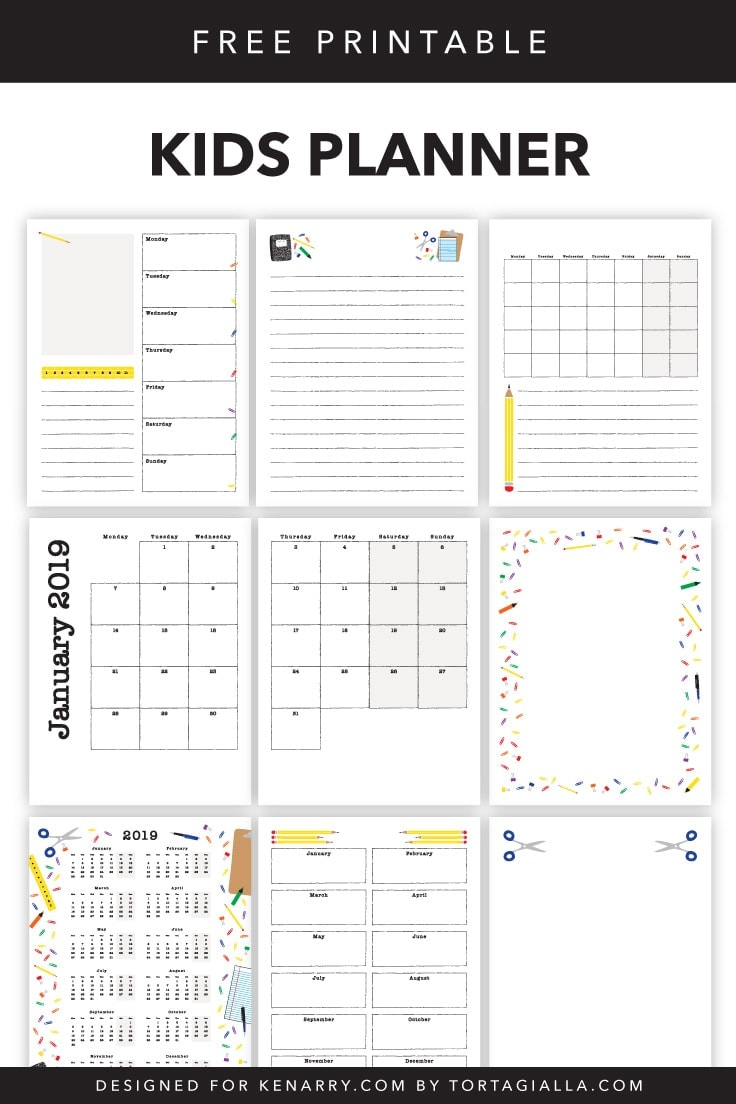 2019 Kids Planner Printable Pages on Kenarry.com / Here's a set of free printables to introduce and teach your little ones about planning, calendar of dates and consistency in time management. #plannerpages #planner #kenarry