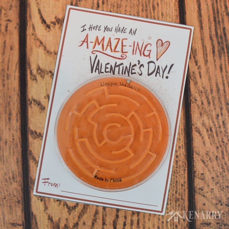 If your child loves games and puzzles, this kids Valentine's Day card will be perfect. Just download the free printable and attach a toy maze or labyrinth. #valentines #valentinesday #kenarry