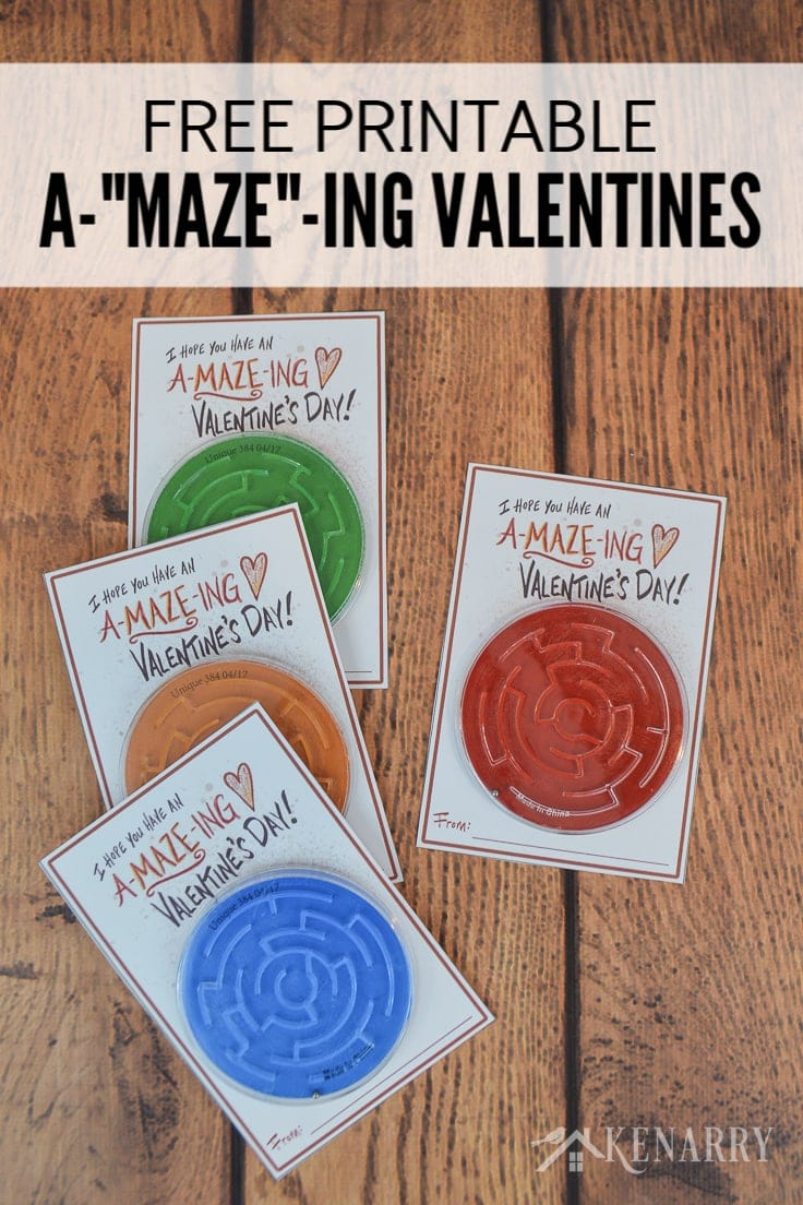 If your child loves games and puzzles, this kids Valentine's Day card will be perfect. Just download the free printable and attach a toy maze or labyrinth. #valentinescards #valentines #kenarry