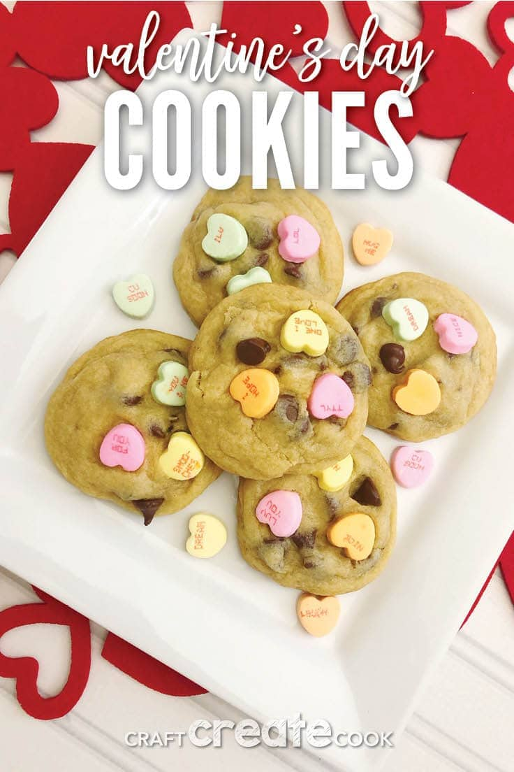 Valentine's Day is one of my favorite holidays. What's better than love and chocolates? Conversation Heart Cookies with chocolate chips are soft, chocolatey and perfect for the ones you love. #valentines #cookies #kenarry