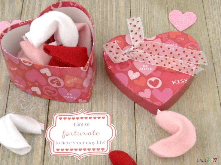 DIY felt fortune cookies in a heart-shaped box