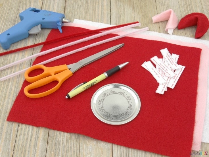 DIY Valentine's Day Fortune Cookies supplies