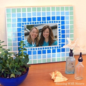 Learn to mosaic a picture frame. We'll show you how to glue the tiles and add grout!
