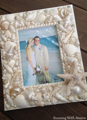 Learn to make your own DIY seashell frame. We'll show you how to attach the shells and how to add pearls!