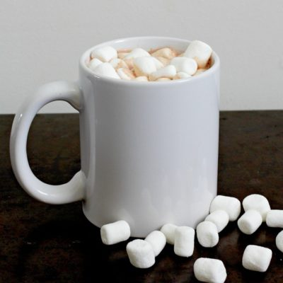 Single serve cup of hot chocolate with marshmallows