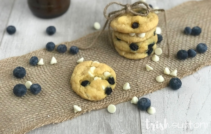 Blueberry White Chocolate Chip Cookies Recipe | TrishSutton.com