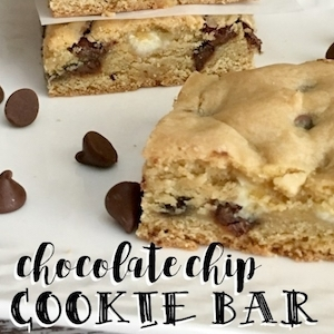Chocolate Chip Cookie Bar Recipe | TrishSutton.com