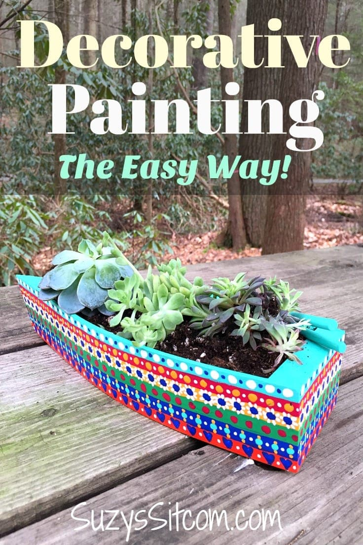 Love the look of decorative painting? This tutorial walks you through decorative painting: adding color the easy way with acrylic paint. Create a beautiful and eyecatching piece of nautical decor! #decorativepainting #paintingtips #kenarry