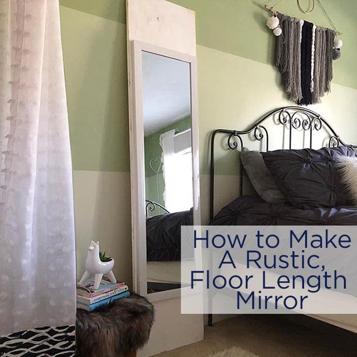 This rustic, full length wall mirror is both pretty and useful. Learning how to make your own mirror with this easy frame is a nice alternative to buying one in a store. #diydecor #homedecor #kenarry