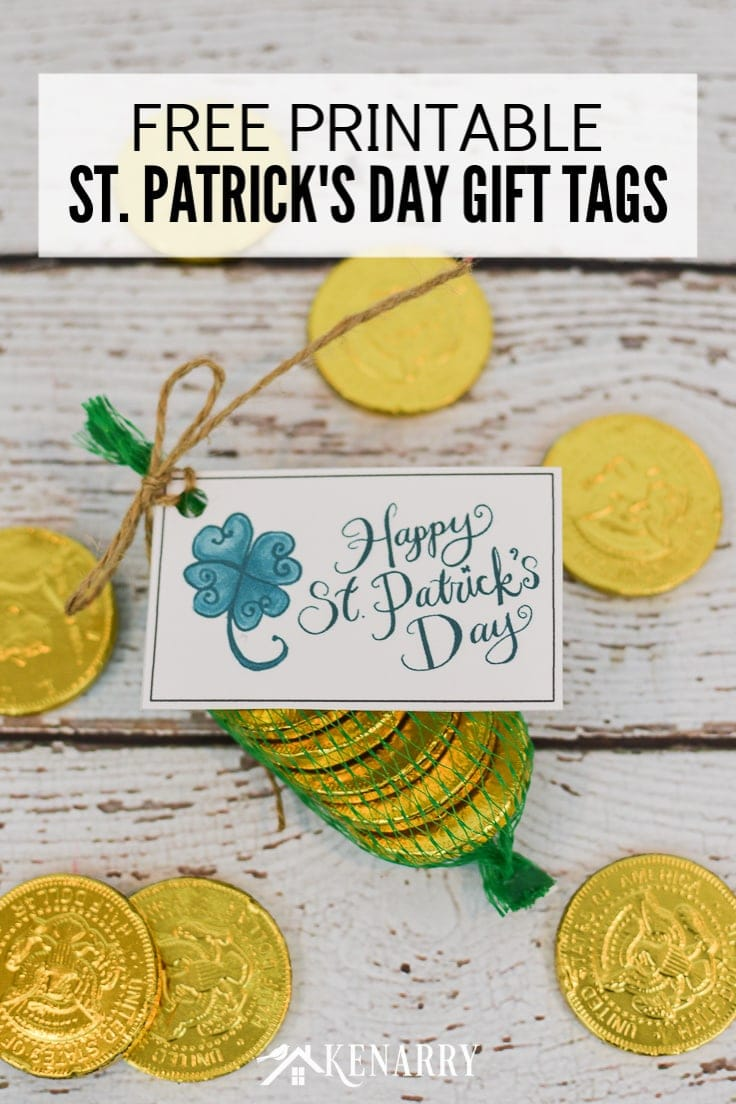 Celebrate the luck of the Irish with these fun free printable Happy St. Patrick's Day gift tags featuring a shamrock or four leaf clover, perfect for any St. Patty's Day party favors and treats! #printable #stpatricksday #kenarry