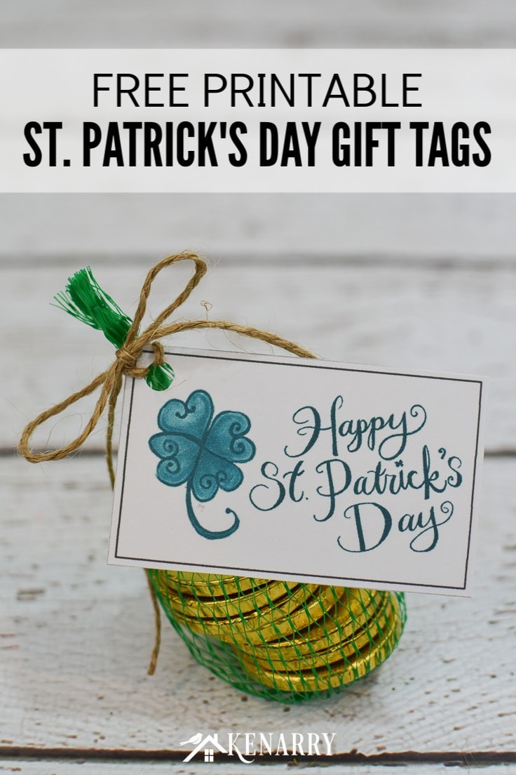 Celebrate the luck of the Irish with these fun free printable Happy St. Patrick's Day gift tags featuring a shamrock or four leaf clover, perfect for any St. Patty's Day party favors and treats! #freeprintables #stpatricksday #kenarry