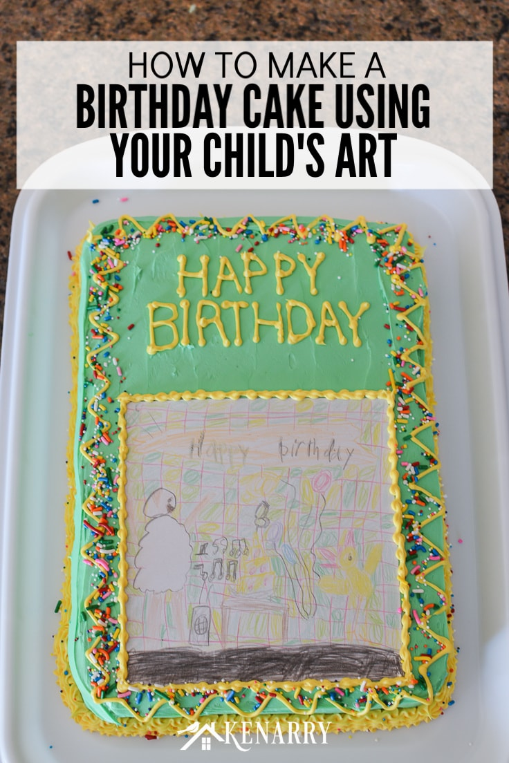 Outstanding Art Cake Easy Birthday Party Idea Using Kids Artwork Ideas For Birthday Cards Printable Giouspongecafe Filternl
